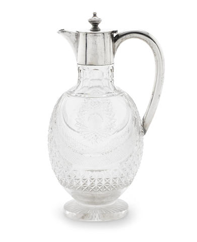 A Victorian silver mounted glass claret jug by Roberts & Belk, Sheffield 1898