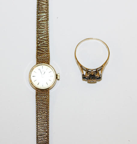 A 9ct gold lady's wristwatch, by Omega, and a sapphire and diamond ring, (2)