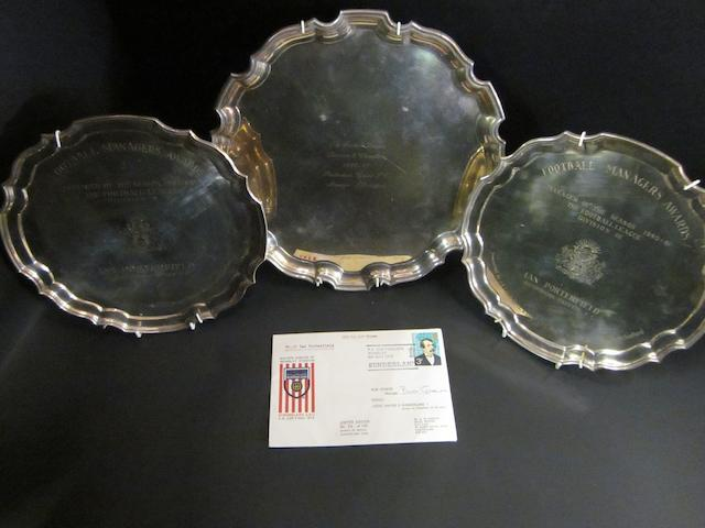 Salvers awarded to Ian Porterfield plus Sunderland 1973 F.A. cup team signatures