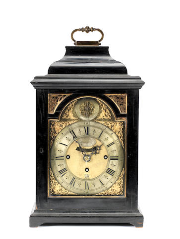 An early 18th century quarter chiming ebony table clock Nicholas Lambert, London