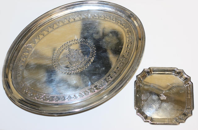 A George III silver oval tea pot stand by Cotton and Head II, London 1790