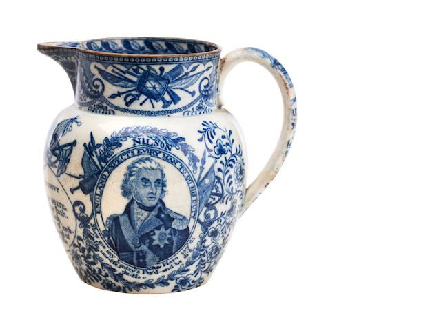 A pearlware jug commemorating Lord Nelson Early 19th century
