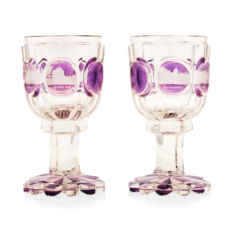 A pair of Bohemian Spa goblets Circa 1850