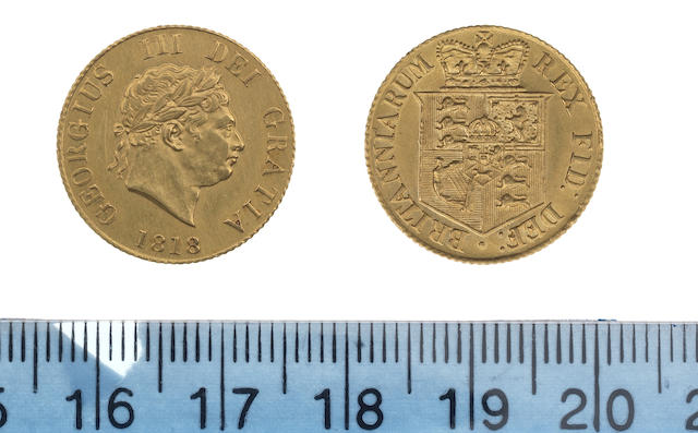 George III, Half Sovereign, 1818, laureate head right,