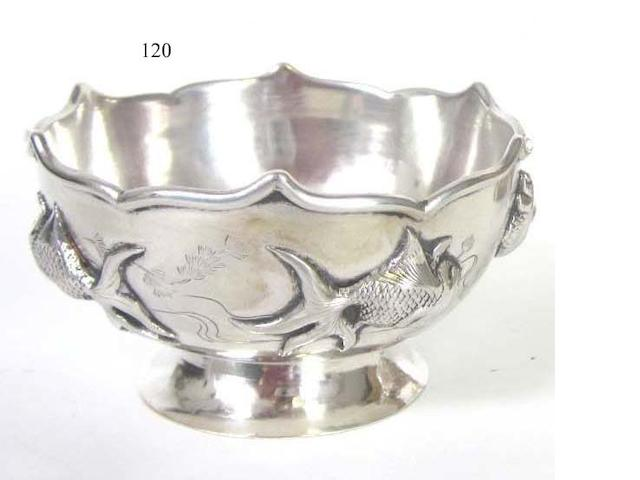 A 20th century Chinese export metalware bowl maker's mark 'P.K' in a rectangular punch,  circa 1920