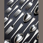 A George III and later silver feather edged canteen of cutlery various makers and dates, predominately London 1823/24