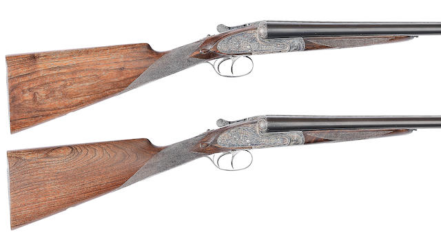 A pair of 12-bore (2¾in) 'No. 1' sidelock ejector guns by Aguirre & Aranzabal, nos. 449949/50 In a Brady leather motor-case