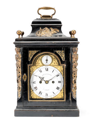A small mid 18th century and later, gilt-metal mounted ebonised table clock with enamel dials Robert Henderson, London