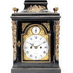 A small mid 18th century and later gilt-metal mounted ebonised table clock with enamel dials  Robert Henderson, London