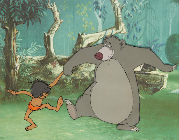 Walt Disney Studios: The Jungle Book, an original cel of Mowgli and Baloo dancing, 1967,