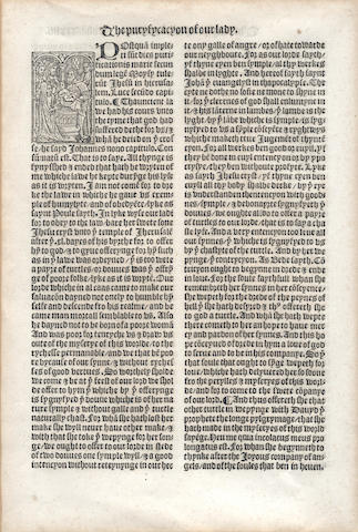 "EARLY PRINTING A leaf from Jacobus de Voragine's ""The Golden Legend"", [Wynkyn de Worde, 1527]"