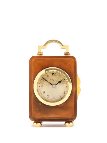 A small early 20th century 18 carat gold mounted tortoiseshell timepiece Retailed by Asprey, hallmarked in London, 1921