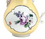 A Dresden yellow ground tea set