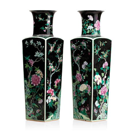 A pair of famille noir vases 19th century, marked with a ribbon tied artemesia leaf