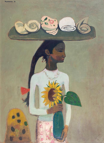 Alberto Morrocco, OBE RSA RSW RP RGI LLD D Univ (British, 1917-1998) Girl with Laundry 83 x 60 cm. (32 11/16 x 23 5/8 in.)