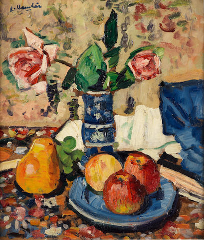 George Leslie Hunter (British, 1877-1931) Apples, Pears and Roses 40.5 x 35.5 cm. (16 x 14 in.)