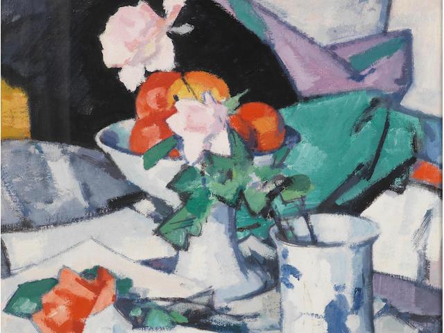 Samuel John Peploe, RSA (British, 1871-1935) Still Life, Roses and Chinese Blue 54.5 x 50 cm. (21 5/8 x 19 3/4 in.)