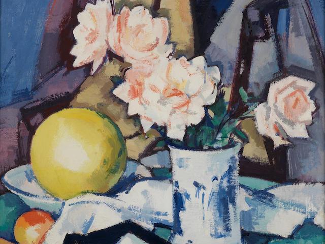 Samuel John Peploe, RSA (British, 1871-1935) Blue & White Vase, Roses, Melon and Orange 41 x 45.8 cm. (16 x 18 in.)