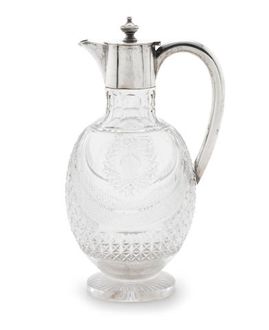 A Victorian silver mounted cut-glass  claret jug maker's mark rubbed, London 1893