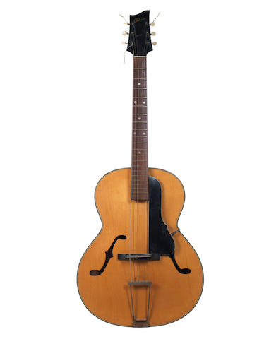 An Antoria acoustic guitar used by The Quarry Men, 1950s, and a letter from Paul McCartney,