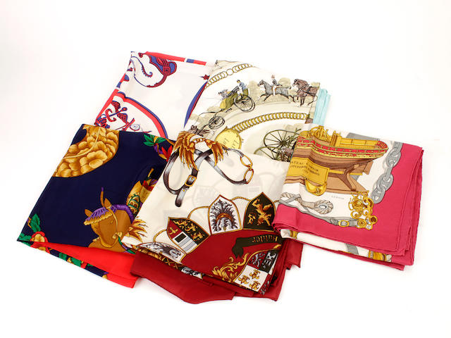 A group of five Hermès silk scarves