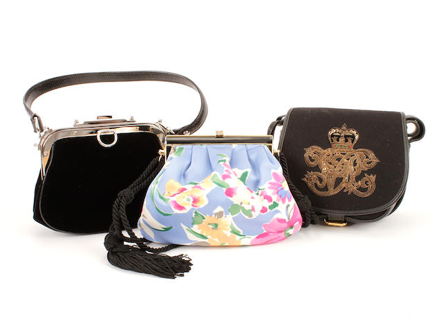 Three Ralph Lauren bags - one printed satin, one velvet and one embroidered