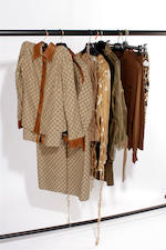 A group of mainly khaki coloured designer garments