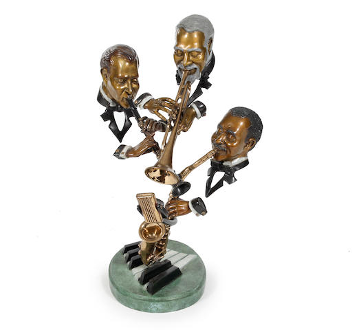 P Wagner Bronze Jazz sculpture, Jazz