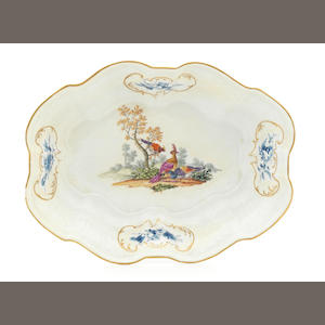 A Meissen shaped oval basin, circa 1760