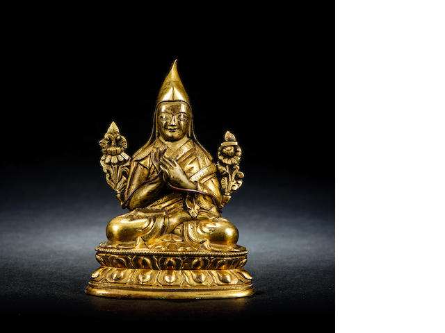 A gilt-bronze figure of Tsong Khapa Mid Qing dynasty