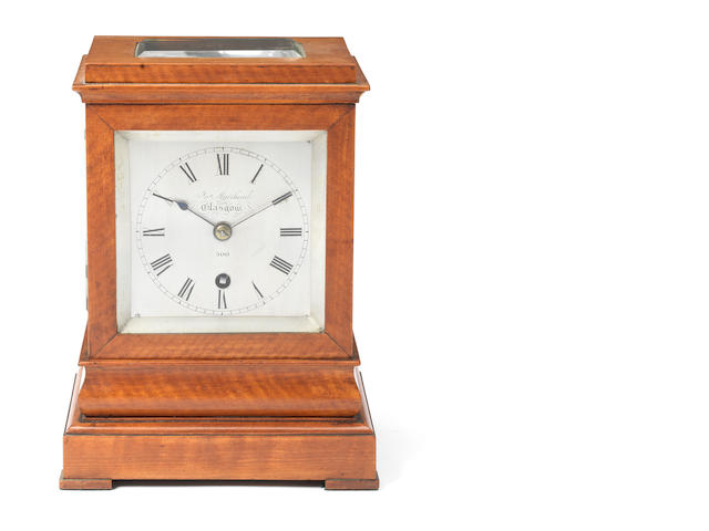 A good second quarter of the 19th century satinwood library timepiece of small size  James Muirhead, Glasgow, number 500
