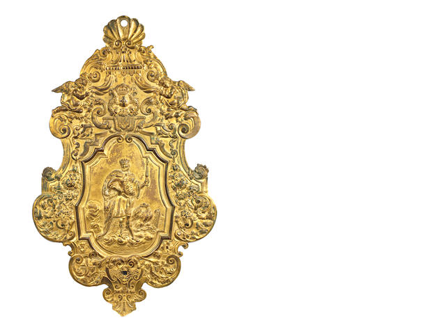 A Hugenot gilt-metal wall sconce possibly depicting Charlemagne