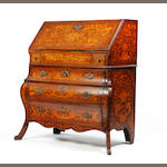 A late 18th century oak and floral-marquetry inlaid bombe bureau, Anglo-Dutch