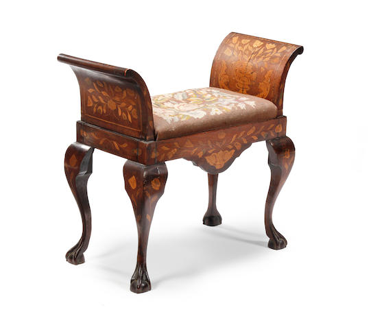 A 19th century mahogany and floral marquetry window-seat, Dutch