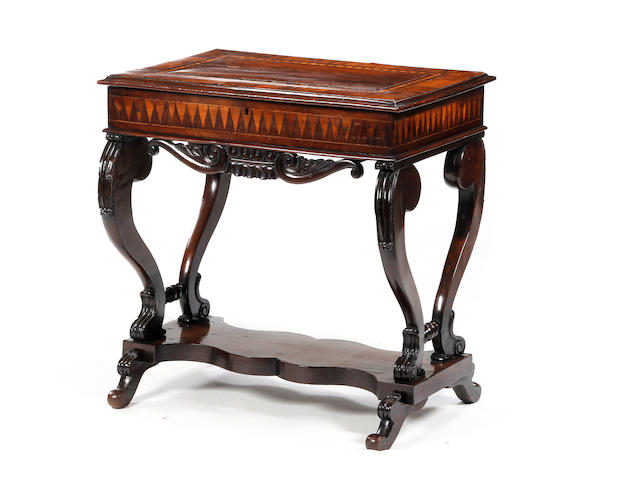 A mid-19th century yew-wood and inlaid sewing table, Irish, of Killarney type