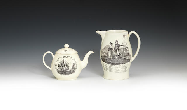A teapot and cover and jug, all with sailor prints