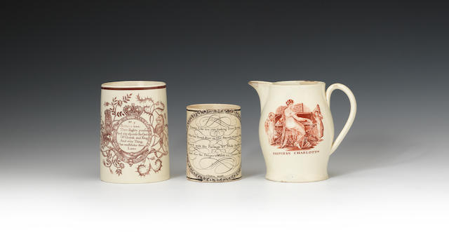 Four creamware printed jugs and a mug, circa 1780-1820