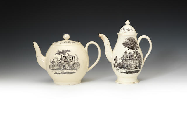 A Wedgwood coffee pot and cover and a teapot and cover, circa 1775