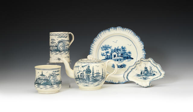 A further selection of creamware decorated in underglaze blue, circa 1770-1780