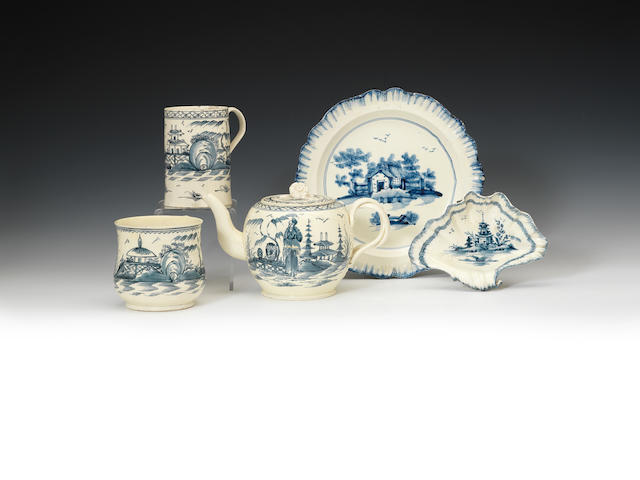 A group of creamware decorated in under-glaze blue, circa 1770-1780