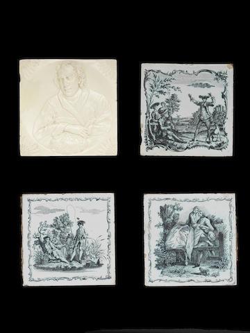 Three Liverpool printed tiles and one rare creamware tile, circa 1775