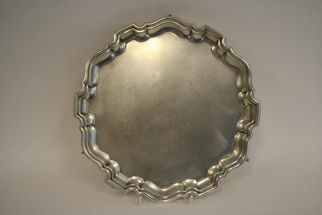 A circular silver salver by Viners, Sheffield 1960