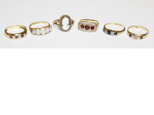 A collection of six rings,