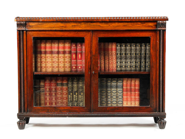 A William IV rosewood dwarf glazed bookcase Possibly reduced in height