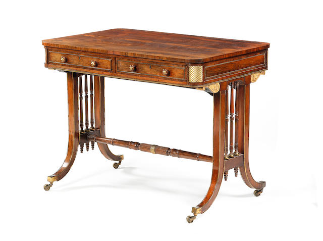 A rosewood, crossbanded and gilt metal-mounted sofa table, in the manner of John McLean Early 19th century and later