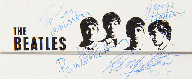 The Beatles: An autographed promotional card and other memorabilia, 1960s,