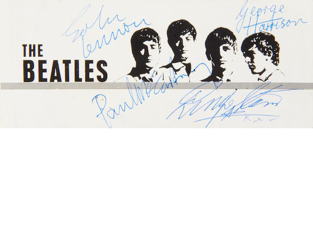 The Beatles: an autographed promo card and other memorabilia, 1960s,