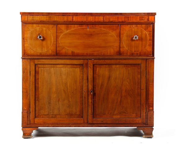 Early 19th Century neo-classical revival secretaire sideboard, in the manner of Gillows, raised on ogee bracket feet