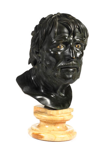 An Italian 19th century bronze bust of Senecaprobably Neapolitan