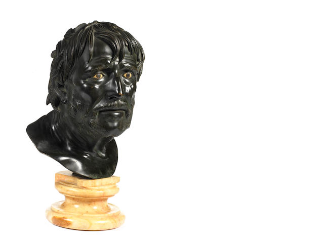 An Italian 19th century bronze bust of Seneca